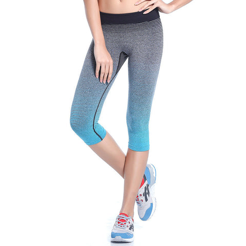 Running Workout Leggings Gym Fitness Tights Athletic Capri Pants Gradient Color - legging7