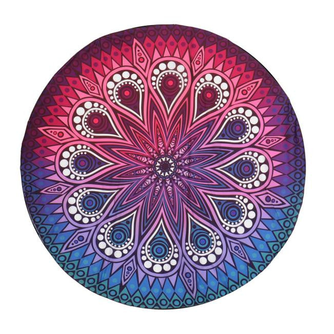 Round Hippie Tapestry Beach Throw Roundie Mandala Towel Yoga Mat - legging7