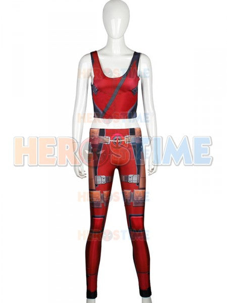 Fashion Women Leggings & Top Deadpool Superhero Sports Suits Cosplay - legging7