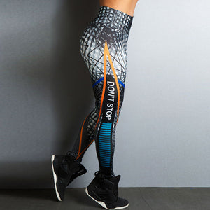 Don't Stop Letter Print Fitness Women Leggings 3D Printed Slim Jeggings - legging 7