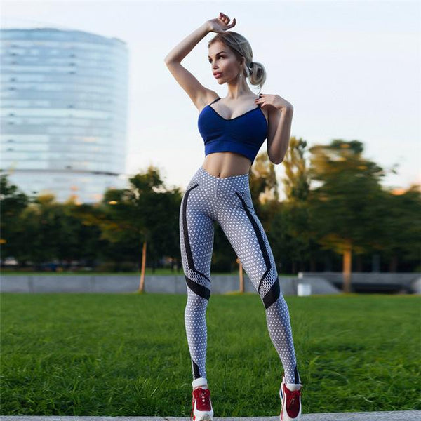 Hot 2018 New Black And White Honeycomb Printed Women's Leggings - legging7