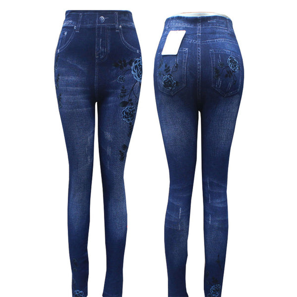 Fashion Slim Sexy Hole Heart Printing Casual Women Clothing Pencil Pants Plus size - legging 7