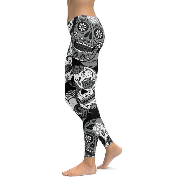 New Arrival Skull Chief Leggings Women Crown Feather 3D Printed Legging - legging 7
