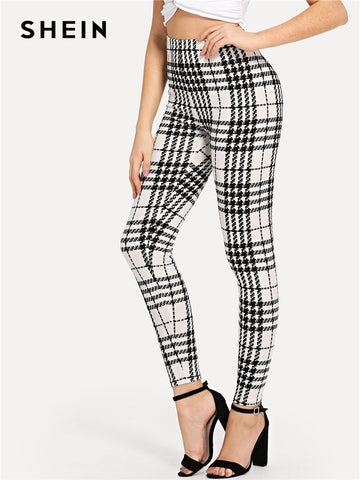 Black And White Office Lady High Street Plaid Skinny High Waist Casual Leggings - legging7