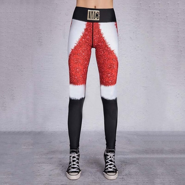 Christmas Printing Leggings Put Hip Elastic High Waist Legging