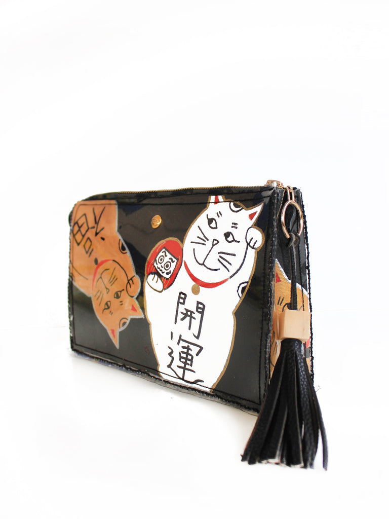 Lucky Cats Box Clutch - Chic Black I