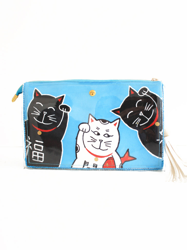 Lucky Cats Box Clutch - Ice Blue II