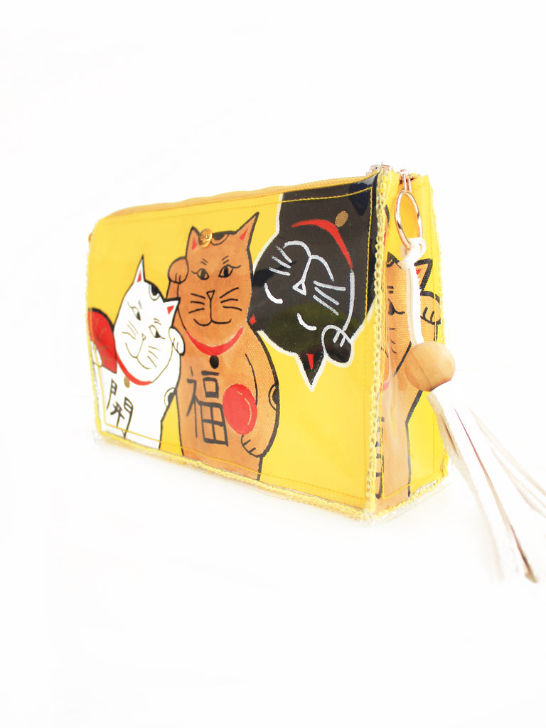 Lucky Cats Box Clutch - Mad Yellow II