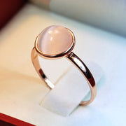 White and pink crystal ring