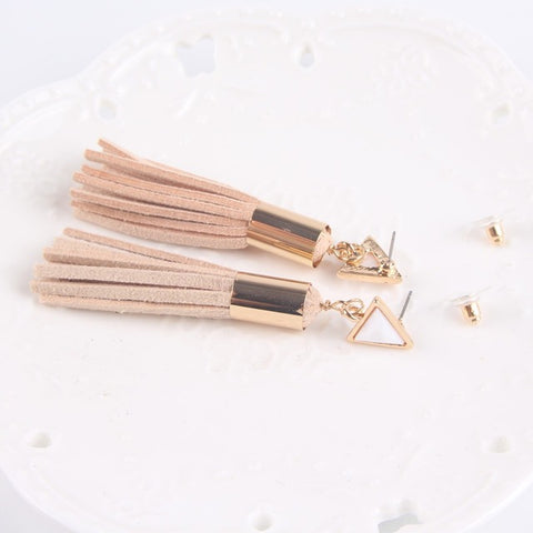 Vintage leather-fringed earrings