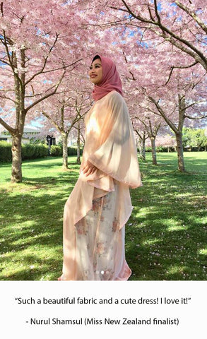 Nurulshamsul, halimaaden, halima aden, vogue, modest, modesty, modest dress, modestclothing, modestclothingonline, maxidress, peachdress, kaftandress