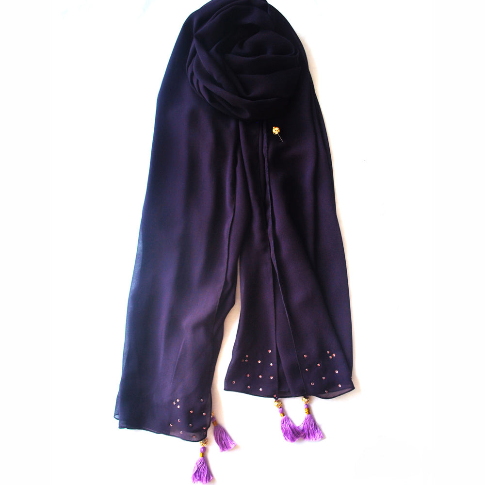 Purple scarf with crystals