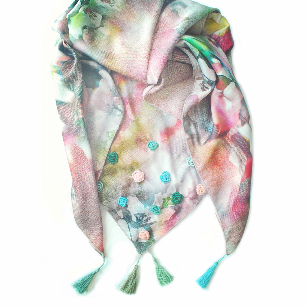 Floral scarf with embroidered roses