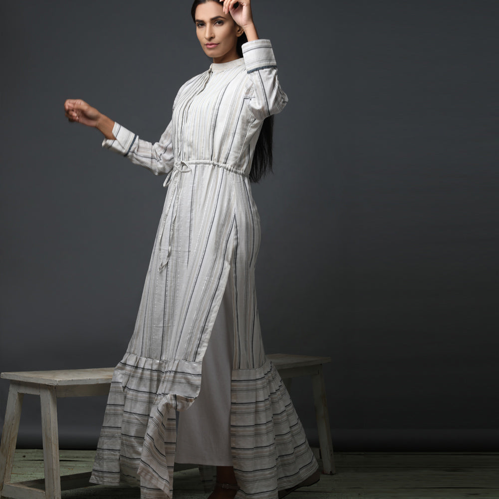 Shirt dress with side slits