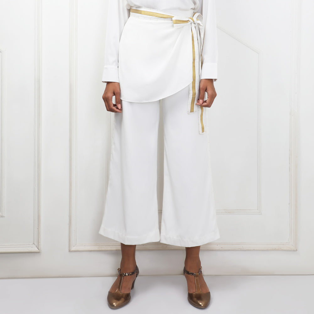 White wrap trouser