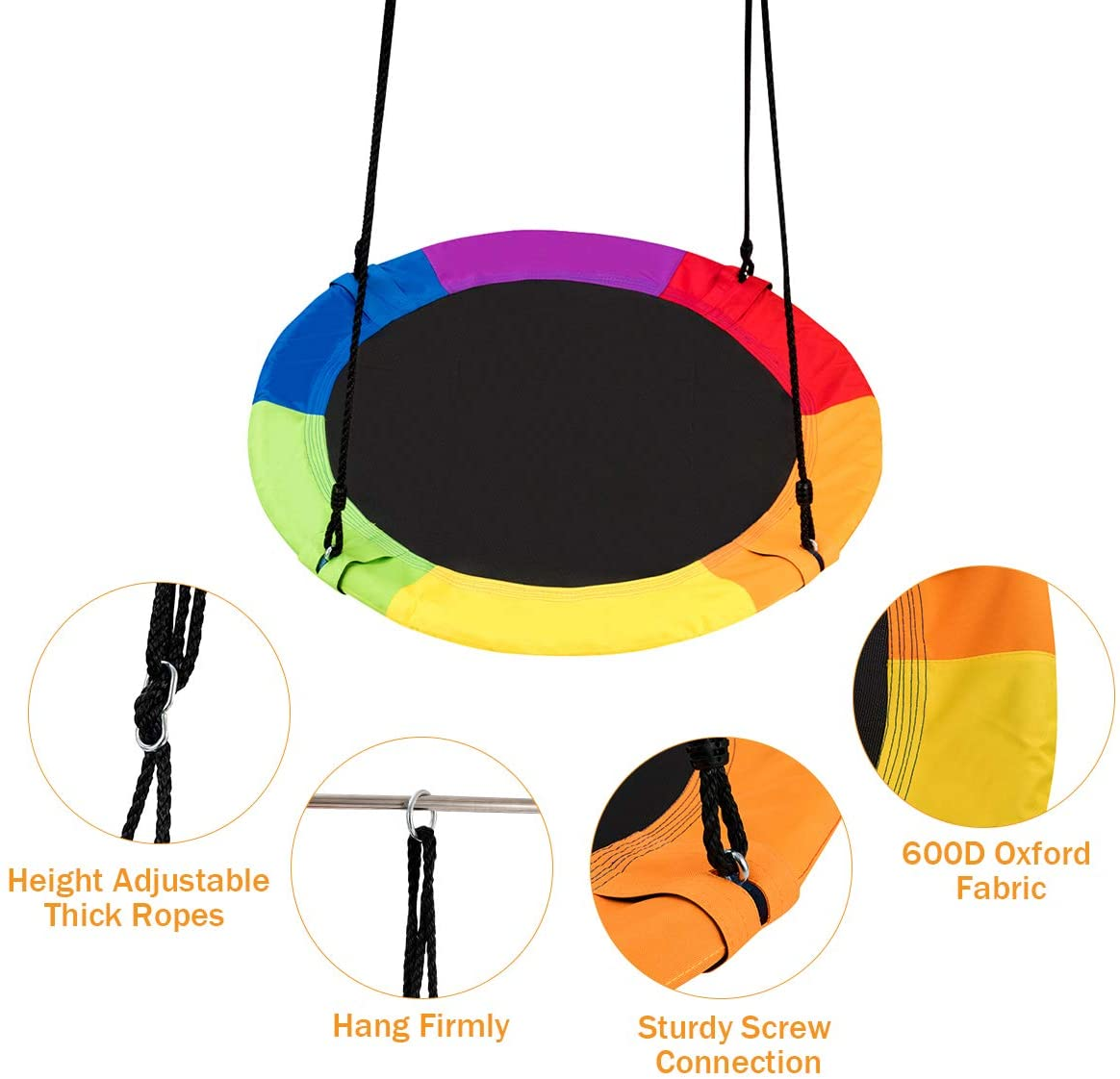 Swings 40 Inch Diameter 600lb Weight Capacity