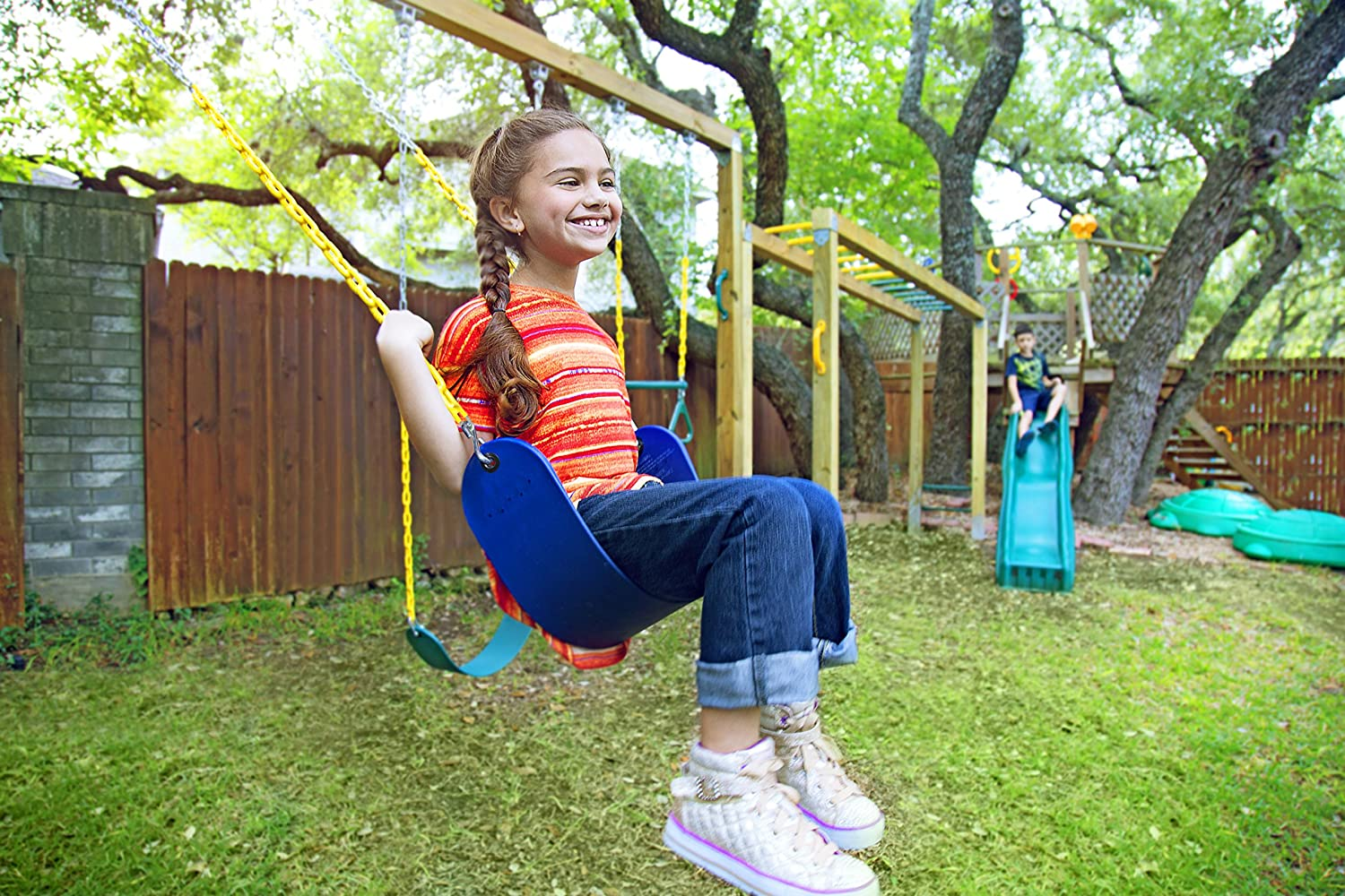 Playground Backyard Kids Swing Set Accessories Outdoor Replacement with Snap Hooks ORANGUTAN Heavy Duty Swing Seat 66 Chain Plastic Coated Swings for Kids Adults Pink