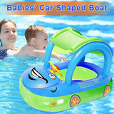 Car Shaped Inflatable Swim Float Boat with Sunshade