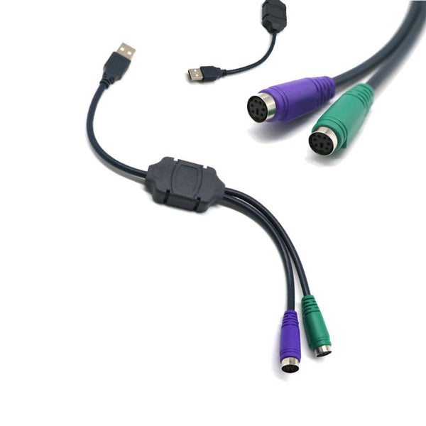 Dual USB to PS2 Mouse and Keyboard Converter Cable - Zone Adapter