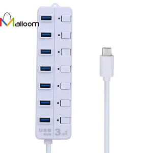 USB HUB 3.1 Type C 7 ports with switch - Zone Adapter