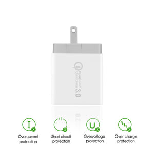 3-Ports QC3.0 USB Wall Charger Travel Adapter Qualcomm 3.0 Quick Charger - Zone Adapter