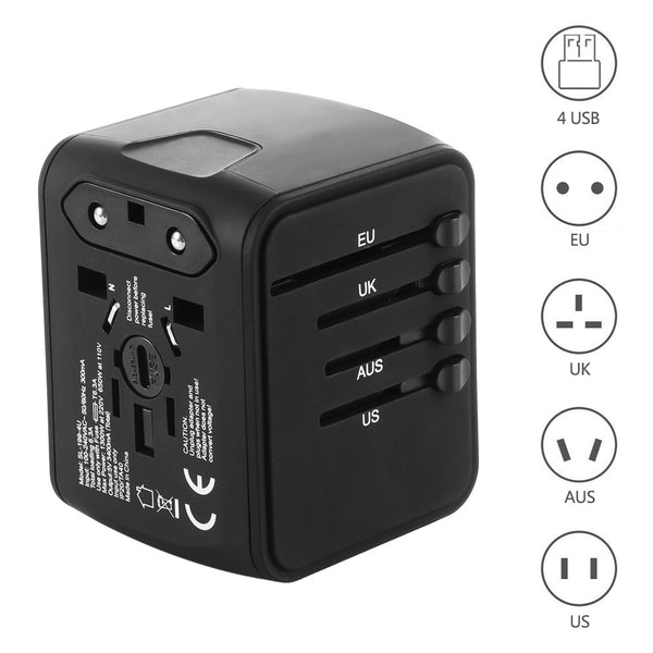 International Travel Adapter UK / EU / AUS / US with 3.4A Max USB Port - Zone Adapter