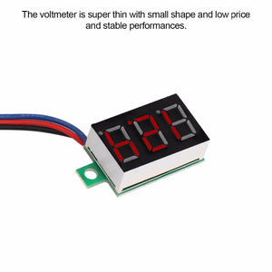 "Mini Car Digital Voltmeter Detector 0.36"" Red LED Display Panel Voltage DC 0-100V 3-Wire - Zone Adapter"
