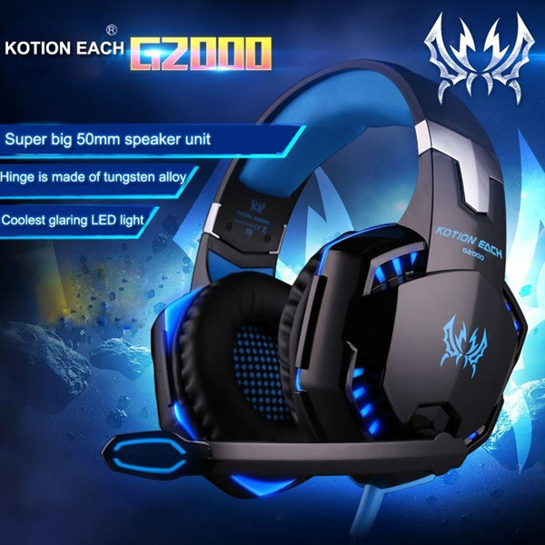 G2000 LED Stereo Gaming Over-Ear Headphone - Zone Adapter
