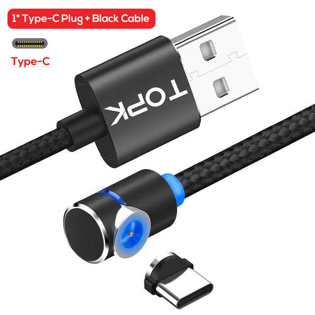 90 Degree L Type Magnetic Cable , Nylon Braided LED Magnet Charger Cable - Zone Adapter