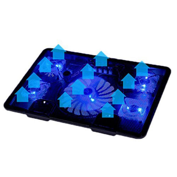 5 Fan 2 USB Laptop Cooler Cooling Pad Base LED Notebook Cooler - Zone Adapter