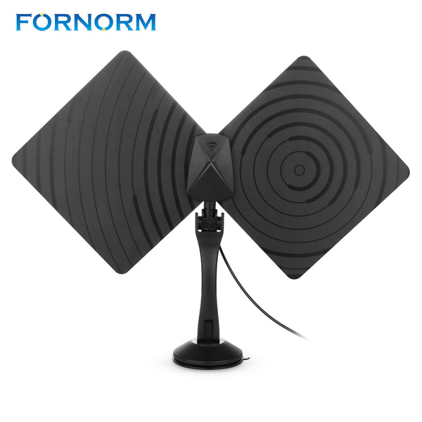 Rotatable 360 Degree 1080P HDTV Antenna 50 Miles Range Indoor Flat TV Antenna with Coaxial Euro Adapter with Amplifier - Zone Adapter