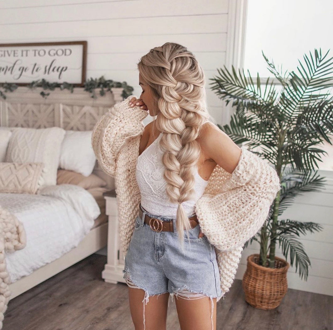 HAND KNITTED LATERNS SLEEVE CARDIGAN