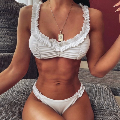 WHITE RUCHED FRONT BIKINI SET