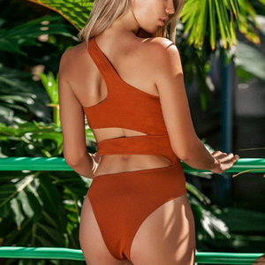 BROWN HELLOW OUT SWIMSUIT