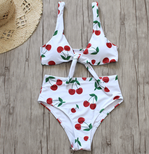 CHERRY HIGH WAIST BIKINI SET