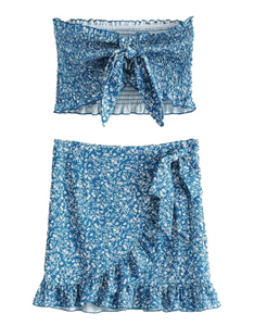 BLUE RUFFLE 2 PIECES SET