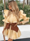 RUFFLE BELTED BLOUSE