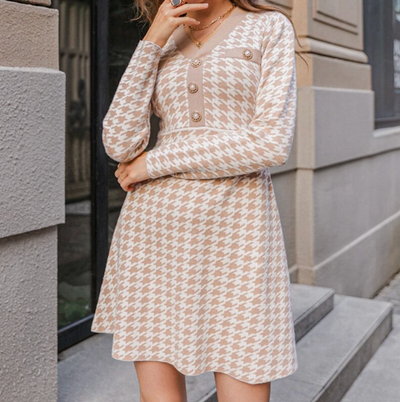 HOUNDSTOOTH KNITTED DRESS