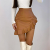 FAUX RUFFLE LEATHER SKIRT