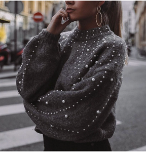 PEARL BEADED GREY SWEATER TOP