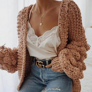 HAND KNITTED CARDIGAN SWEATER