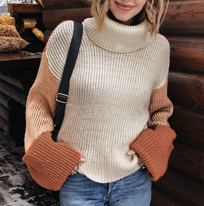 STRIPE CHUNKY KNIT ROLL NECK JUMPER