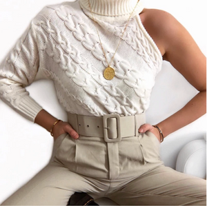 ONE SHOULDER SWEATER TURTLE NECK