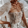 WHITE SHEER PUFF SLEEVE TOP