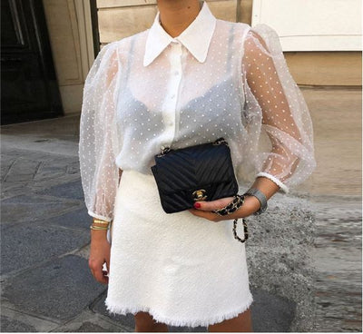 MESH TRANSPARENT BLOUSE