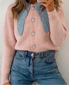 COLLAR KNITTED CARDIGAN