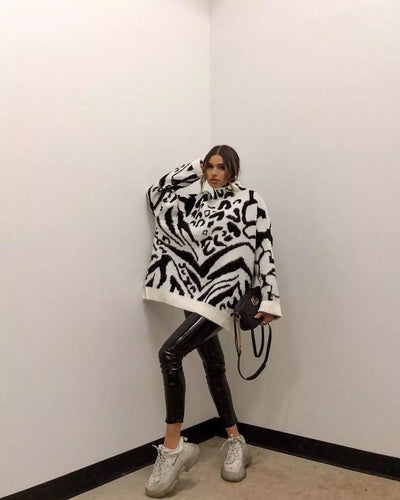 ZEBRA PRINT ROLL NECK OVERSIZED SWEATER