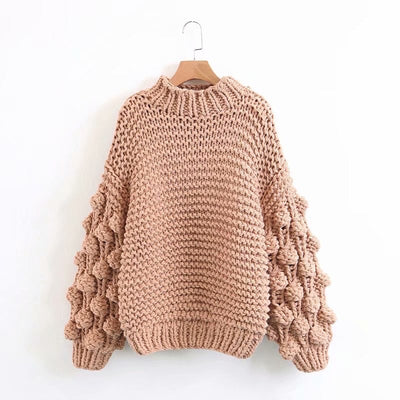 HAND KNITTED LATERNS SLEEVE  PULLOVER