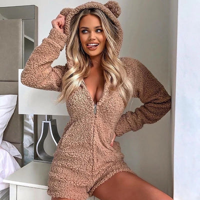 BEAR HOODED ROMPER
