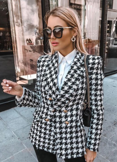 BLACK PLAID BLAZER